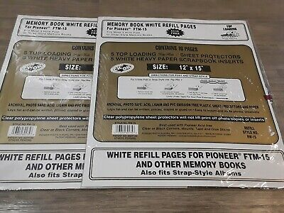 NEW Lot of 2 Pioneer RW-15 FTM-15 White Refill Pages 12x15 Memory Scrap Books