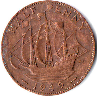 1949 Half Penny Of George Vi. Collectible Coin #Wt2505