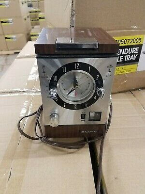 Vtg Sony 7FC-89W Telechron movement Clock Radio AM/FM Mid Century Modern