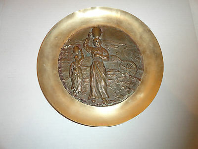 """Asian Welch Ladies 3D Plate Solid  Brass Wall Hanging Sculptured 11.5"""" Vintage"""