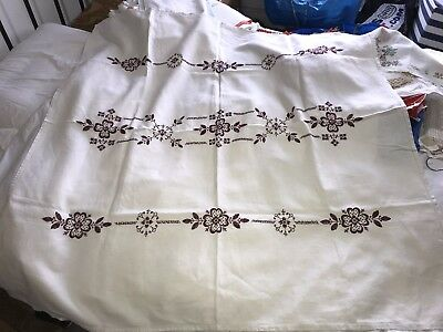 Vintage French Hand Embroiedred Linen Tablecloth