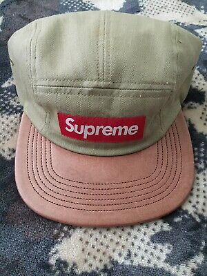 d1e3c77f Supreme Tan Herringbone Brown Leather Brim Camp Cap Hat Box Logo Authentic  BOGO