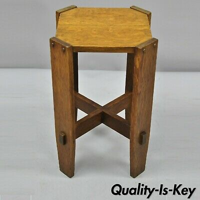 Antique Mission Oak Arts & Crafts Side Table Plant Stand Attr. Stickley Bros.