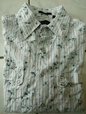 7 Diamonds Mens Snap Western Style Shirt Striped Floral Blue White Sz M B439