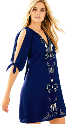 5a1623c67dd $278 NWT Lilly Pulitzer Bryce Silk Open Sleeve Tunic Dress Navy Blue Small