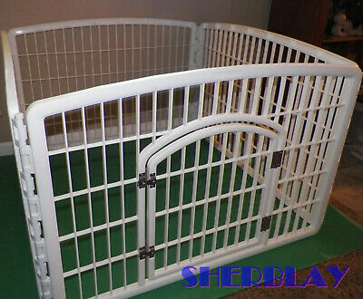 White Plastic Indoor Pet Dog Cat Play Pen 4 Panel Portable Safety Fence Yard