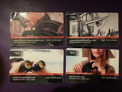 Four promotional $25 gift card