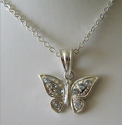 "1 New Butterfly Clear Crystal Pendant Necklace 16"" + 3"" Long M Ladies Girl Teen"