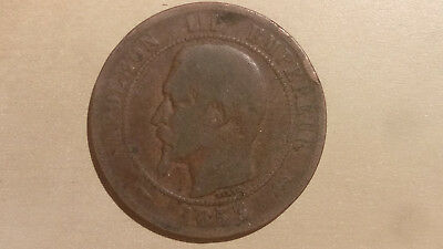 1853 Napoleon III French Dix Centimes coin -2