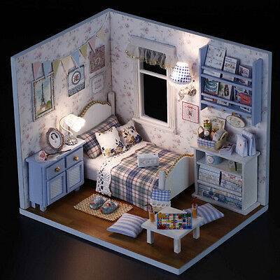 DIY Wooden Dolls house Miniatures Kit w/Cover/LED Lights Dollhouse Furniture SM
