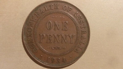 1934 One Penny coin Australian KGV King George pearls