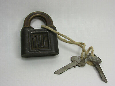 Antique YALE & TOWNE Padlock With Keys Brass Cast Iron