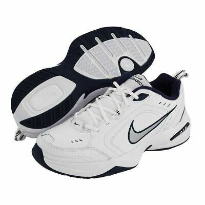 reputable site a6b04 6b32a Nike AIR MONARCH IV Mens White Silver Navy 102 Lace Up Running Training  Shoes
