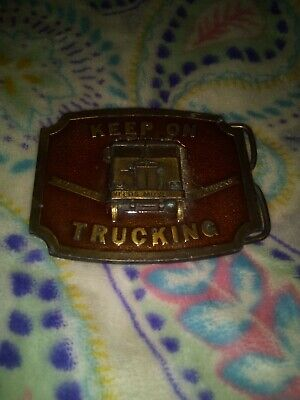 VINTAGE,1975,KEEP ON TRUCKING BELT BUCKLE Darien,Wisconsin
