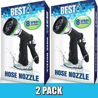 Best Adjustable Garden Hose Nozzles (HIGH PRESSURE - 8 SPRAY MODES) - 2 PACK