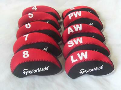 10PCS Protective Club Covers Caps for Taylormade Iron Headcovers 4-LW Red&Black