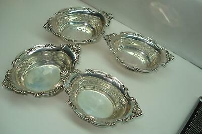 Sterling Silver Antique Fancy Nut Dishes Set of 4 Hallmarked Numbered No Monos