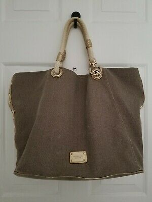 24145270abfb MICHAEL KORS Marina Canvas Hemp Nautical Anchor Rope Purse Hand Bag Tote,  Tan