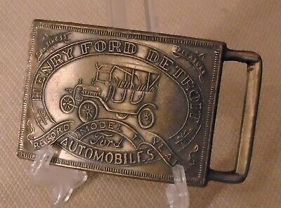 Vintage Authentic Brass Belt Buckle HENRY FORD Model T PC 2020340010 Signed 171f