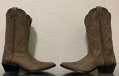 d8ad8cb0399 ARIAT 15729 HERITAGE Western J Toe Distressed Tan Brown Leather ...