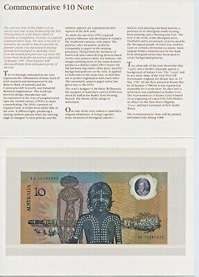 26-1-1988 Aust. $10 Polymer Commemorative Banknote In Folder Unc Aa12092025 A91