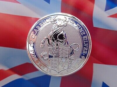 2018 GB 2 oz. Queen's Beast BLACK BULL OF CLARENCE coin .9999 ultra-fine silver