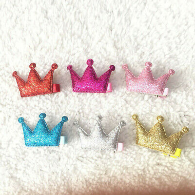 2PCS Hair Clips Girls Party Sequins Princess Crown Leather Hair Style Buckle