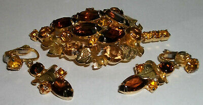 Vintage Large Pin & Hanging Earrings Set / TIERED LEAF / OPEN BACK GLASS STONES