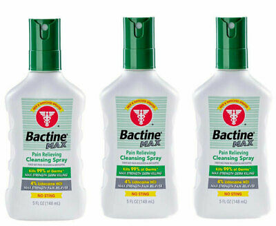 3 Pack Bactine Max Pain Relieving Cleansing Spray Infection Protection 5 oz *New