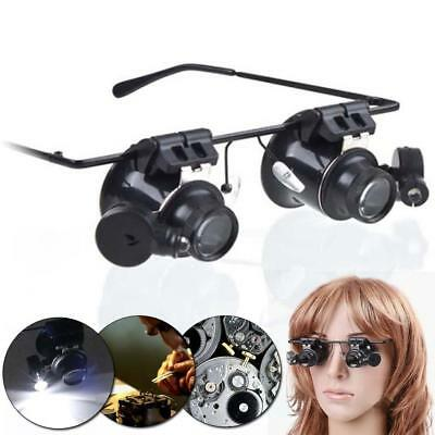 20X Magnifier Watch Jeweler Magnifying Eye Glasses Loupe Lens Repair LED Light