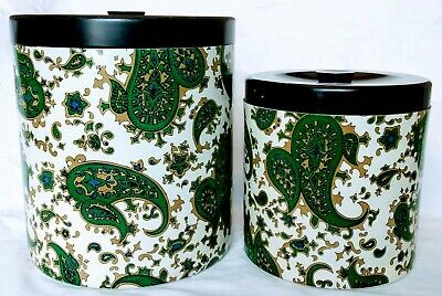 Vintage Retro 2 Funky Green Paisley Kitchen Canisters Carnaby Street London '60s