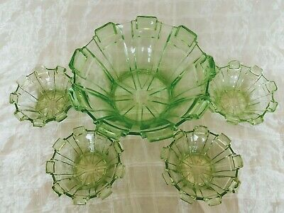 Vintage Stolzle Art Deco Geometric Green Depression Glass Master Bowl & 4 Small