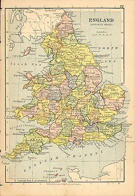 c1898 VICTORIAN MAP ~ ENGLAND BRUNSWICK PERIOD ~ YORK DURHAM SHROPSHIRE SUSSEX