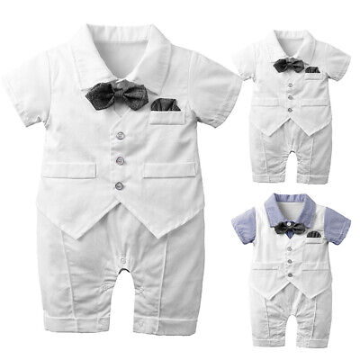 Summer Newborn Baby Boy Short Sleeve Outfits Clothes Romper Tops Jumpsuit Set