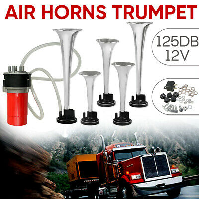 125DB 5 Trumpet Air Horn 12V Cars Trucks Busses Boats DUKES Hazzard Musical