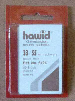 HAWID STAMP MOUNTS BLACK Pack of 50 Individual 33mm x 55mm - Ref. No. 6124