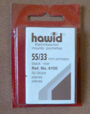 HAWID STAMP MOUNTS BLACK Pack of 50 Individual 55mm x 33mm - Ref. No. 6105
