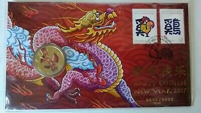2017 Chinese New Year of Rooster Tuvalu $1 One Dollar Dragon UNC Coin Perth Mint