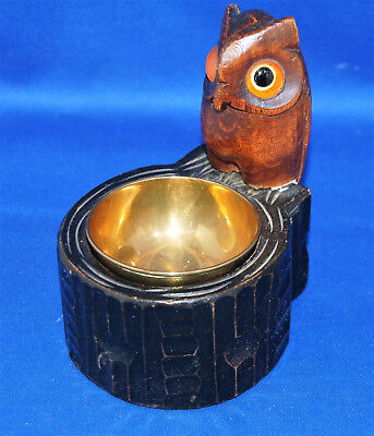 A very well carved owl antique Victorian wooden, desktop pot with glass eyes