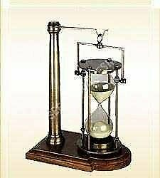 Ectoria Hanging Brass Sand Timer Hourglass on Wood Base