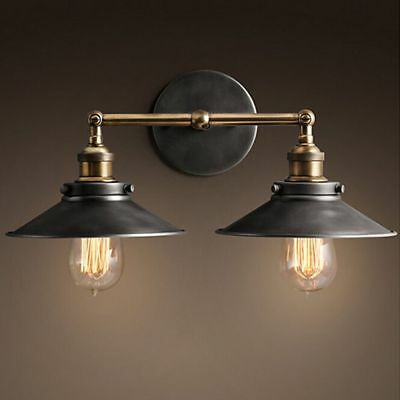 Vintage Industrial Chrome Wall Light Double Arms Rustic Sconce Bedroom NO Bulbs