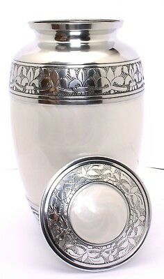 Large Cremation Urn for Ashes Adult Funeral Memorial White Urn PROMOTIONAL OFFER