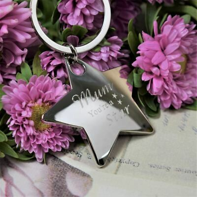Personalised Keyring Engraved Chrome Star Key Ring - Add Your own Wording