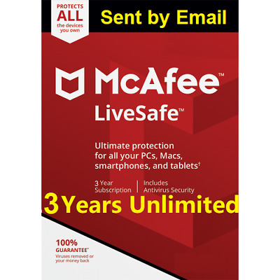 Mcafee LiveSafe 2019 Unlimited Devices 3 Years  antivirus Download Version