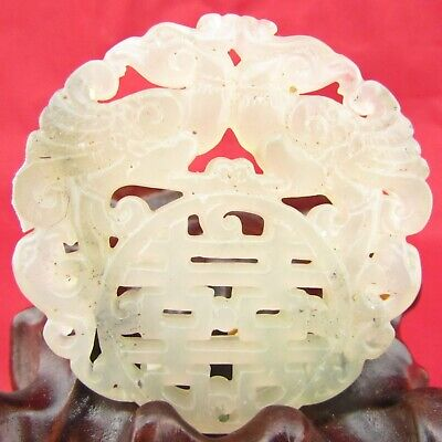 Chinese jade hand carving Exquisite double phoenix jade pendant D 1093