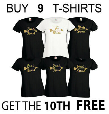Bride Squad Hen Party Ladies T-Shirts Tshirts Tops Hen Do Gold Print