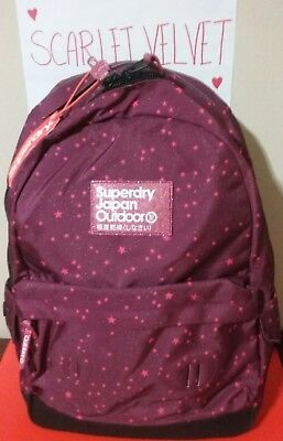 NWT SUPERDRY Women Print Edition Montana MOONLIGHT Wine Stars 17L Backpack