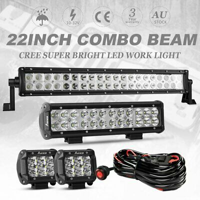 22inch CREE LED Light Bar Spot Flood+ 12inch+ 4'' LED Work Pods w/ Wiring Kit