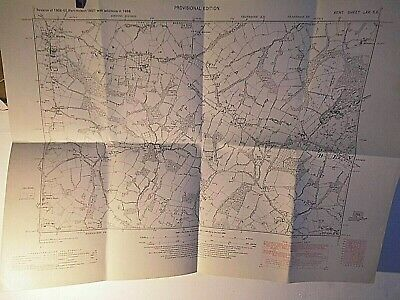 "KENT HIGH WEALD-HARTLEY TO BENENDEN SCHOOL-Nr CRANROOK 6"" PLANNERS MAP 1860-1949"