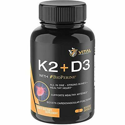 Vitamin K2 MK7 (100mcg) with Vitamin D3 (5000 IU) – 3-Months Supply of Vitamin D
